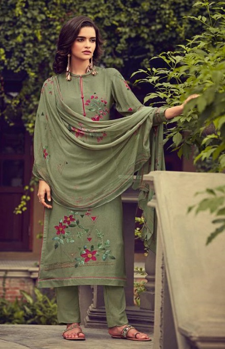 Sahiba Esta Designs Presents Shore Pashmina Dobby Printed With Handwork Suits 1005