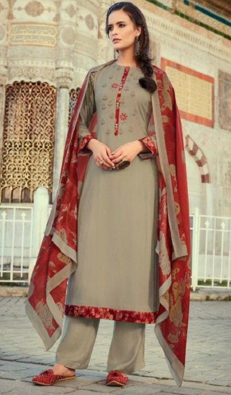 Sahiba Itrana Presents Leaves Winter Collection Pashmina Twill Digital Printed Embroidered Suits 113