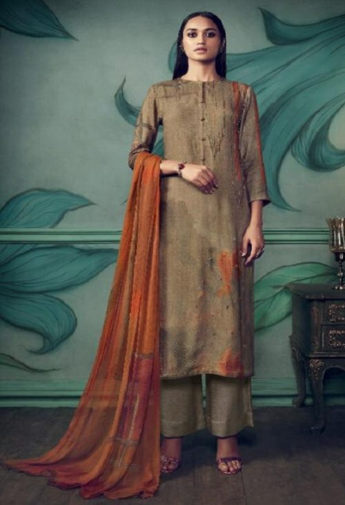 Sahiba Presents Path Strokes Pure Pashmina Digital Print With Handwork Unstitched Suit 482