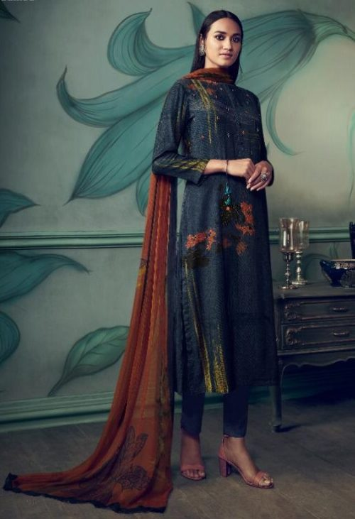 Sahiba Presents Path Strokes Pure Pashmina Digital Print With Handwork Unstitched Suits 404