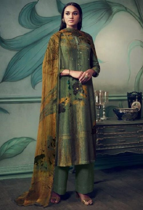 Sahiba Presents Path Strokes Pure Pashmina Digital Print With Handwork Unstitched Suits 408