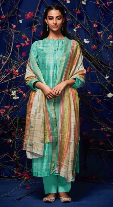 Sahiba Presents Rehnuma Pashmina Foil Print With Mirror Work Salwar Suit 133