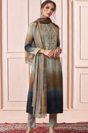 Sahiba Presents Rhythm Pure Pashmina Digital Print With Embroidery Winter Suits For Women 620