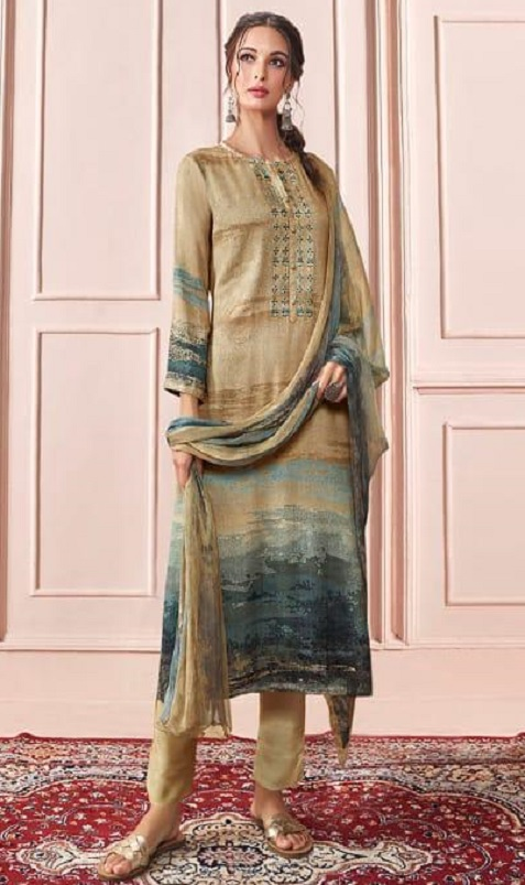 Sahiba Presents Rhythm Pure Pashmina Digital Print With Embroidery Winter Suits For Women 660