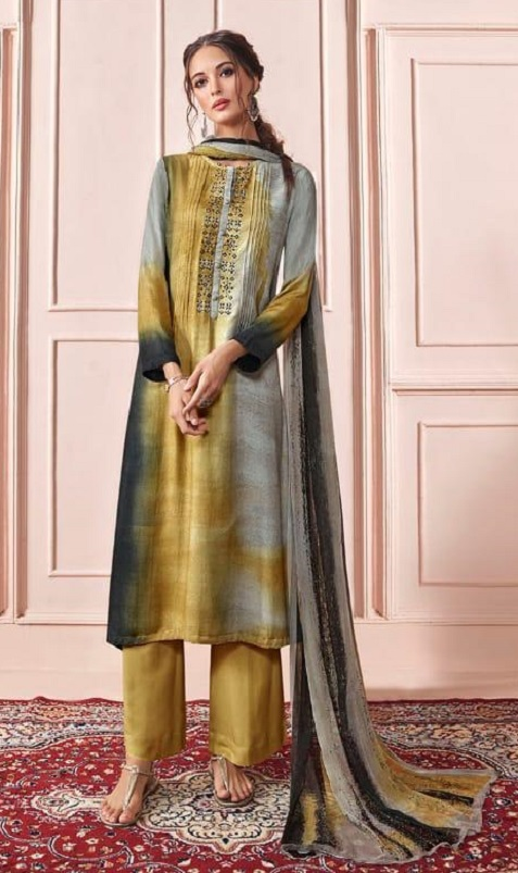 Sahiba Presents Rhythm Pure Pashmina Digital Print With Embroidery Winter Suits For Women 685