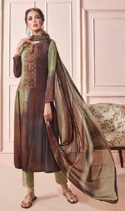 Sahiba Presents Rhythm Pure Pashmina Digital Print With Embroidery Winter Suits For Women 690