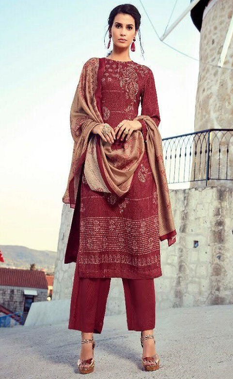 Sahiba Sarg Presents Paisley Run Pure Pashmina Digital Print With Handwork Salwar Suit 465