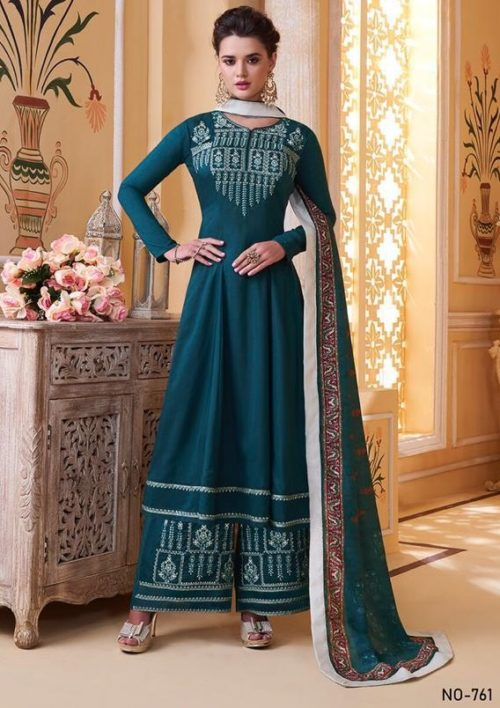 Sajawat Creation Presents Sarthi Vol 09 Readymade Malin Embroidered Suits Collection With Palazzo and Dupatta 761