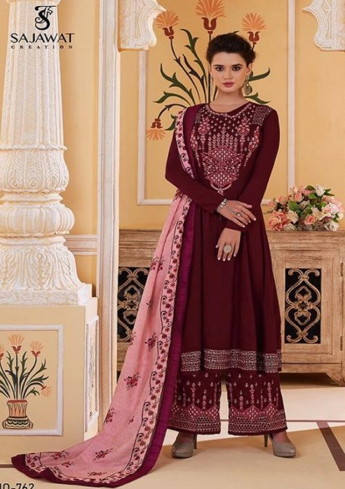 Sajawat Creation Presents Sarthi Vol 09 Readymade Malin Embroidered Suits Collection With Palazzo and Dupatta 762