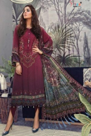 Shree Fabs Maria B MPrint 4 Pure Cotton Print With Heavy Embroidery Designer Suit 5647