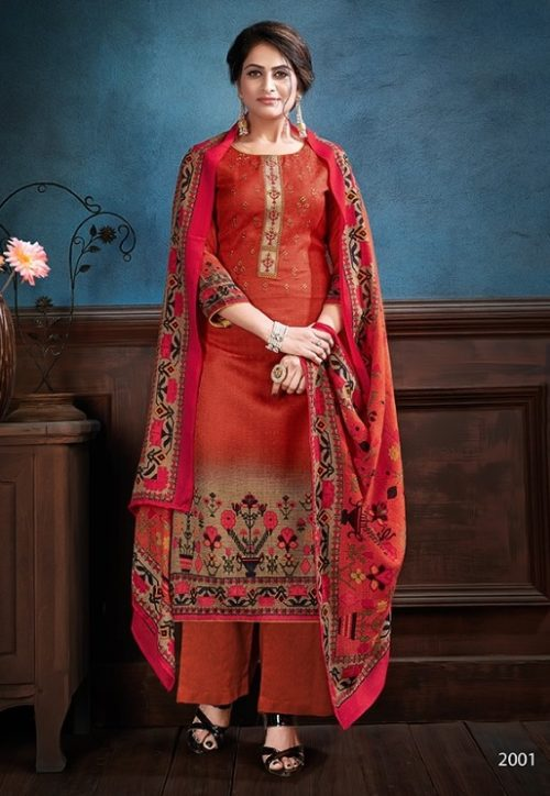 Supriya Fashion Samui Shawl Pure Wollen Pashmina Print and Embroidery Work Salwar Kameez 2001