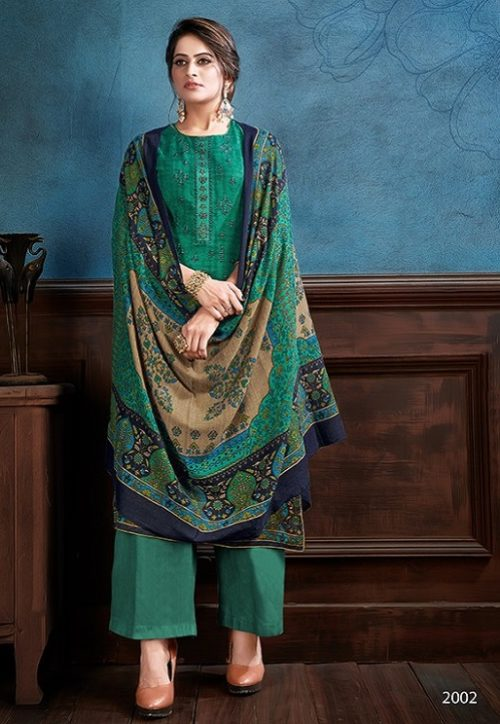 Supriya Fashion Samui Shawl Pure Wollen Pashmina Print and Embroidery Work Salwar Kameez 2002
