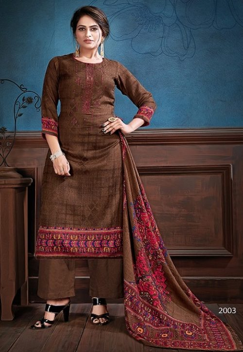 Supriya Fashion Samui Shawl Pure Wollen Pashmina Print and Embroidery Work Salwar Kameez 2003