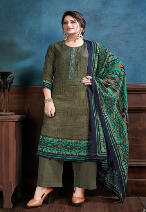 Supriya Fashion Samui Shawl Pure Wollen Pashmina Print and Embroidery Work Salwar Kameez 2004