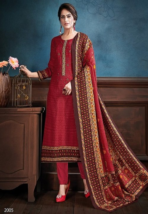 Supriya Fashion Samui Shawl Pure Wollen Pashmina Print and Embroidery Work Salwar Kameez 2005