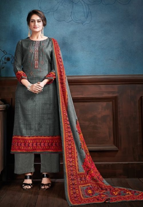 Supriya Fashion Samui Shawl Pure Wollen Pashmina Print and Embroidery Work Salwar Kameez 2006