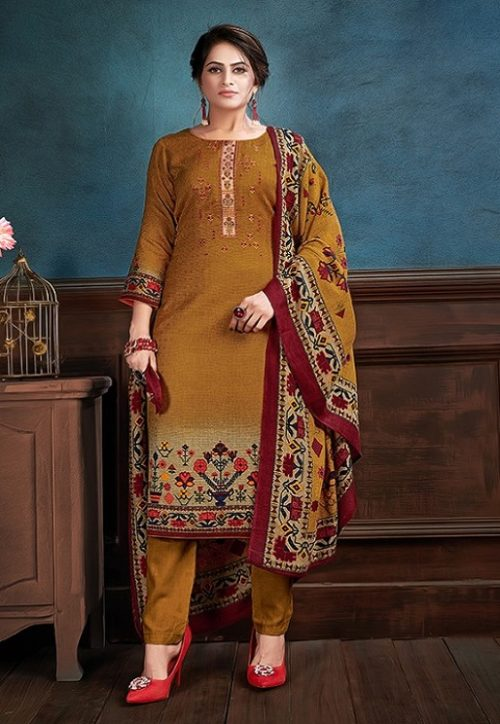 Supriya Fashion Samui Shawl Pure Wollen Pashmina Print and Embroidery Work Salwar Kameez 2008
