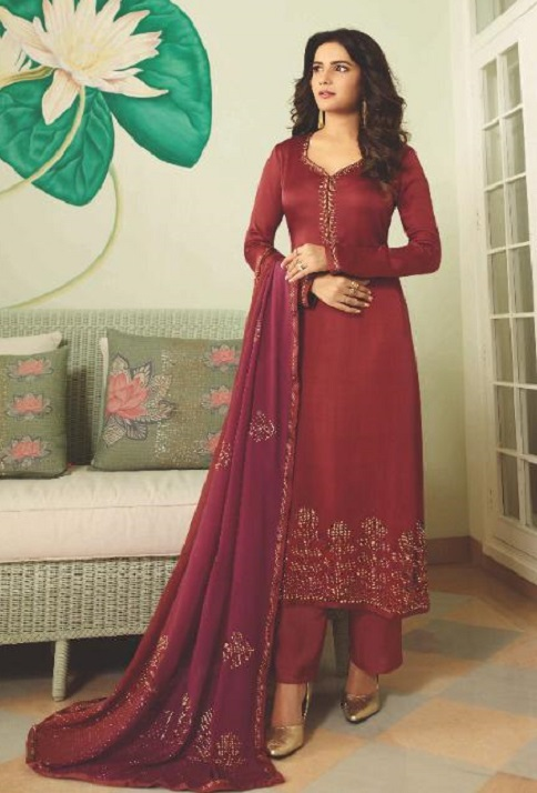 Vinay Fashion Presents Evershine Plus Satin Gerogette With Work Party Wear Salwar Suit 11314