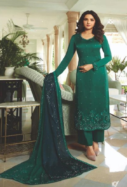 Vinay Fashion Presents Evershine Plus Satin Gerogette With Work Party Wear Salwar Suits 11313