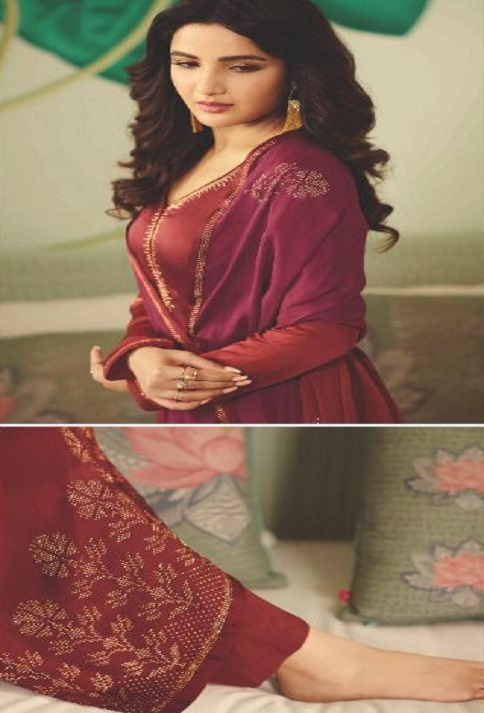 Vinay Fashion Presents Evershine Plus Satin Gerogette With Work Party Wear Salwar Suits 11314