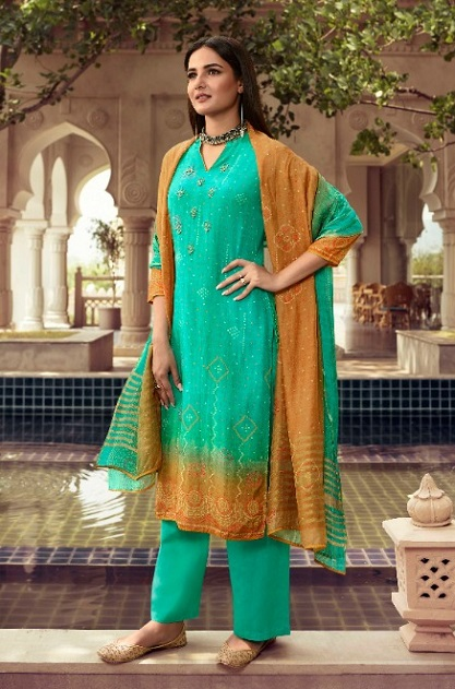 Vinay Fashion Presents Kervin Poonam Pure Cotton Silk With Work Salwar Suit 11222