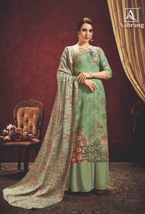 Alok Suit Presents Aabrang Wool Pashmina Jacquard Print With Swarovski Diamond Work Salwar Suit 452-002