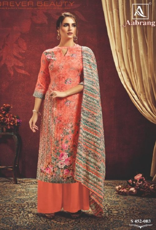 Alok Suit Presents Aabrang Wool Pashmina Jacquard Print With Swarovski Diamond Work Salwar Suit 452-003