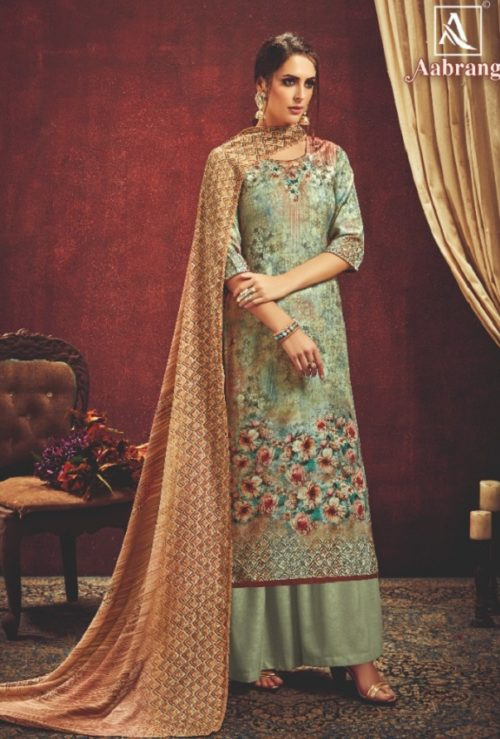 Alok Suit Presents Aabrang Wool Pashmina Jacquard Print With Swarovski Diamond Work Salwar Suit 452-008