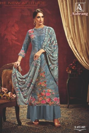 Alok Suit Presents Aabrang Wool Pashmina Jacquard Print With Swarovski Diamond Work Salwar Suits 452-005