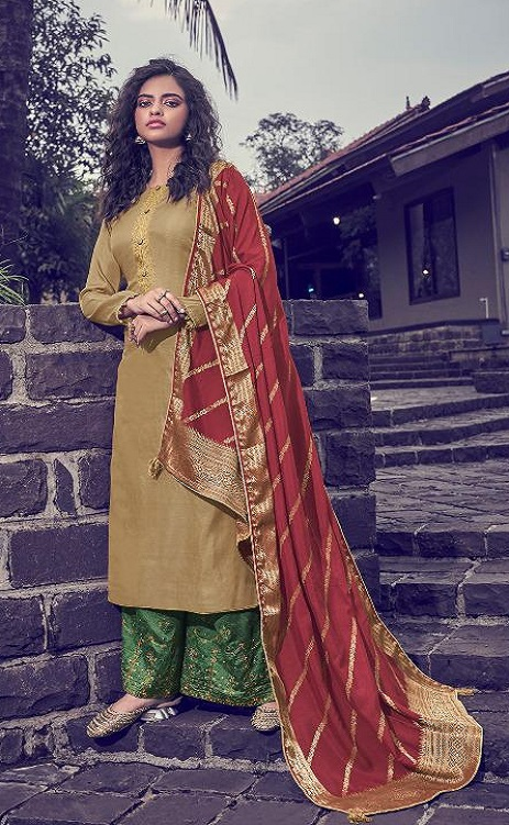 Angroop Plus Presents Scarlet Tussar Silk Satin With Embroidery Suits 013