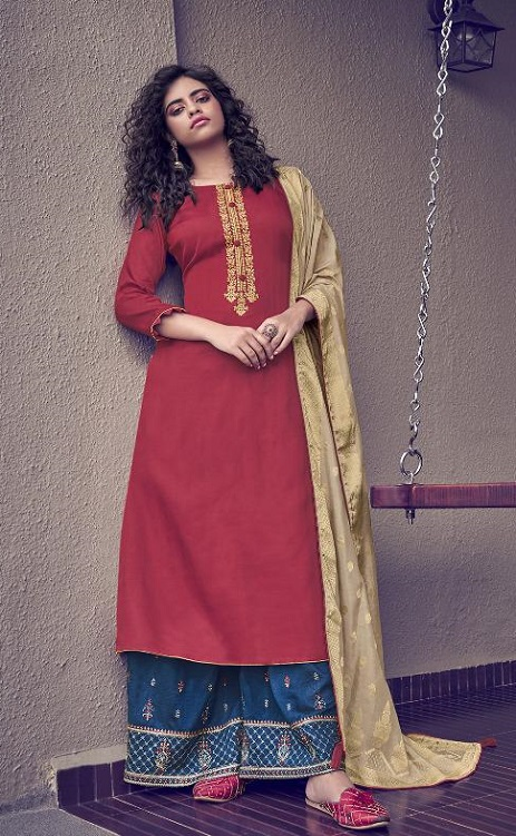Angroop Plus Presents Scarlet Tussar Silk Satin With Embroidery Suits 014