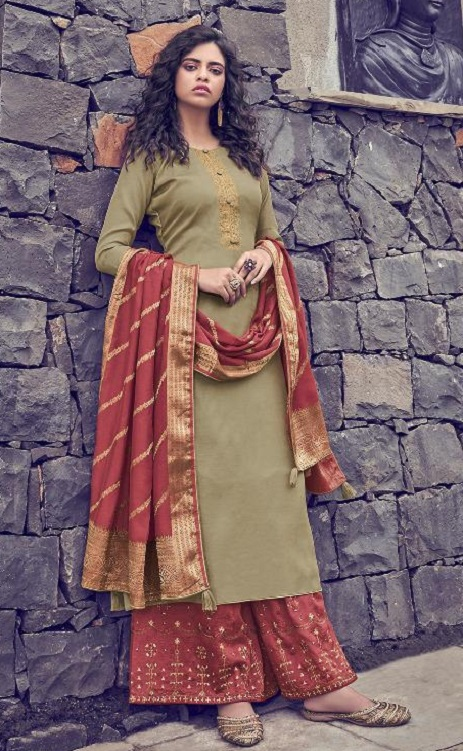 Angroop Plus Presents Scarlet Tussar Silk Satin With Embroidery Suits 011
