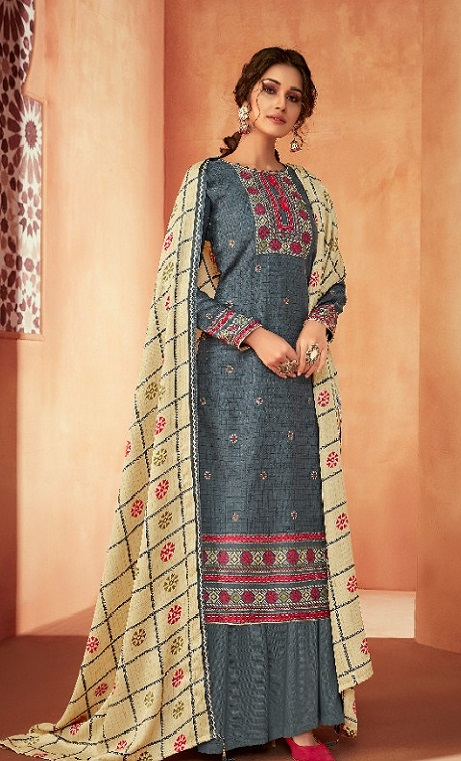 Ankit Textile Presents Kashmira Pure Pashmina Printed with Winter Shawl Unstitched Salwar Suit 5102