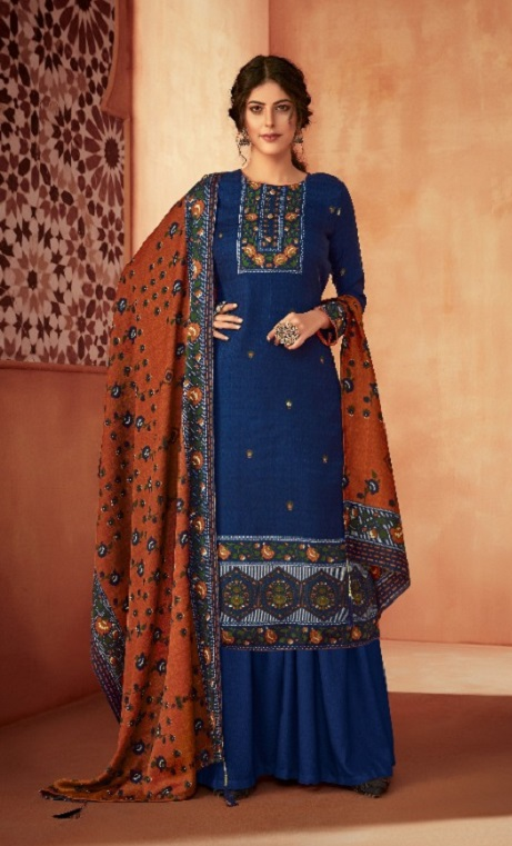 Ankit Textile Presents Kashmira Pure Pashmina Printed with Winter Shawl Unstitched Salwar Suit 5106