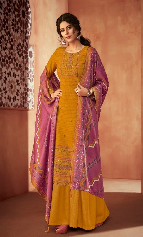 Ankit Textile Presents Kashmira Pure Pashmina Printed with Winter Shawl Unstitched Salwar Suit 5108
