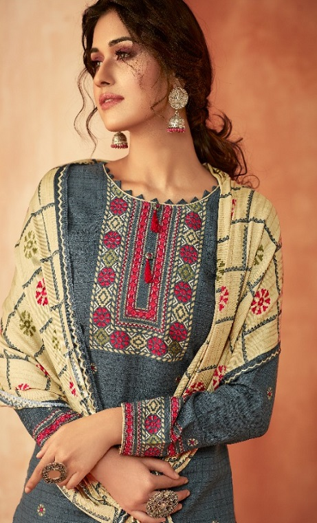 Ankit Textile Presents Kashmira Pure Pashmina Printed with Winter Shawl Unstitched Salwar Suits 5102