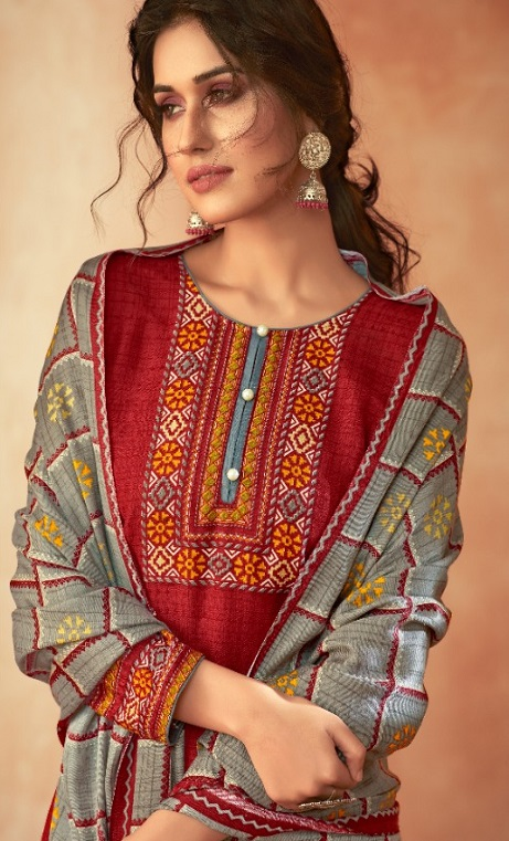 Ankit Textile Presents Kashmira Pure Pashmina Printed with Winter Shawl Unstitched Salwar Suits 5104