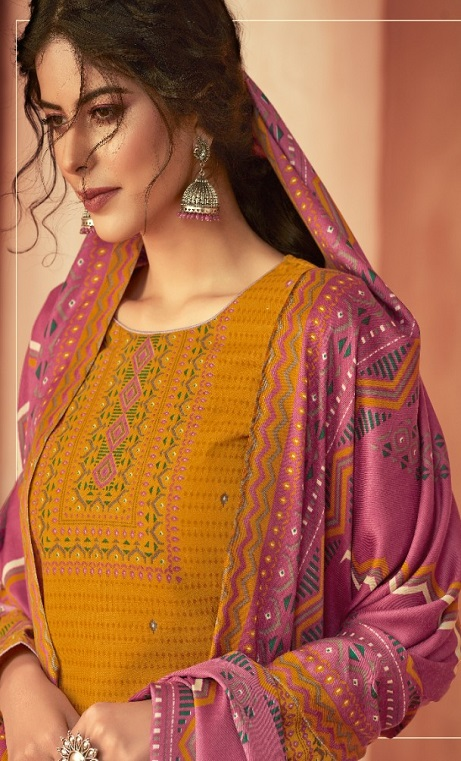 Ankit Textile Presents Kashmira Pure Pashmina Printed with Winter Shawl Unstitched Salwar Suits 5108