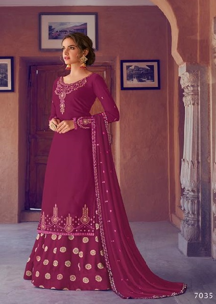 Avon Trendz Presents Arohi 19 Satin Georgette With Embroidery Work Party Wear Salwar Suit 7035