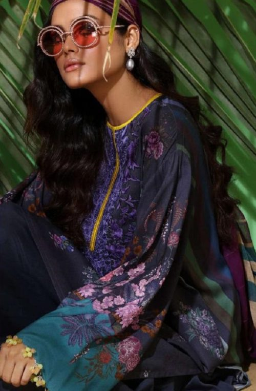 Fair Lady Presents Sana Safinaz Muzlin Pure Jam Satin Print With Heavy Patch Work Embroidery Salwar Suits 1004