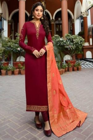 Fiona Kritika Presents Kamra Jacquard Dupatta Satin Georgette With Work Designer Partywear Suit 22573