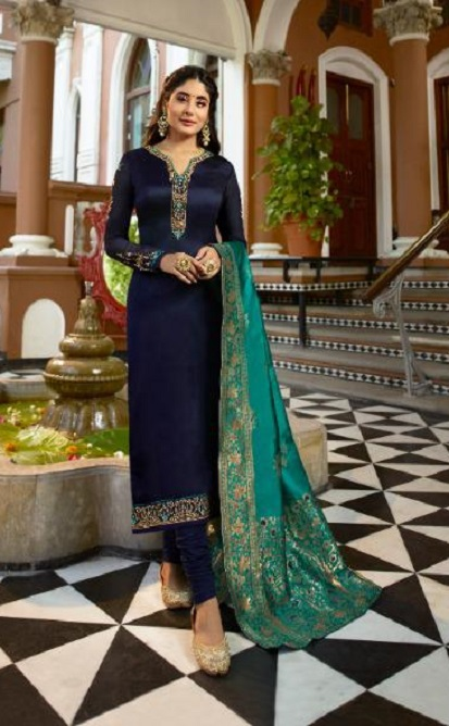 Fiona Kritika Presents Kamra Jacquard Dupatta Satin Georgette With Work Designer Partywear Suit 22577