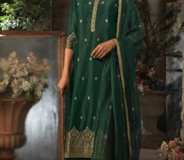 Ganga Presents Ayana Pure Silk Jacquard Extra Sleeves With Embroidery Salwar Suit 7950