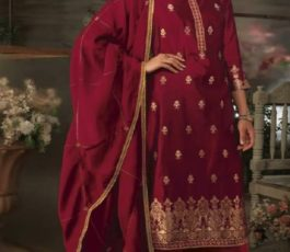 Ganga Presents Ayana Pure Silk Jacquard Extra Sleeves With Embroidery Salwar Suit 7951