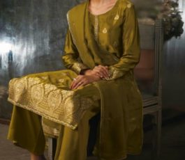 Ganga Presents Ayana Pure Silk Jacquard Extra Sleeves With Embroidery Salwar Suit 7954