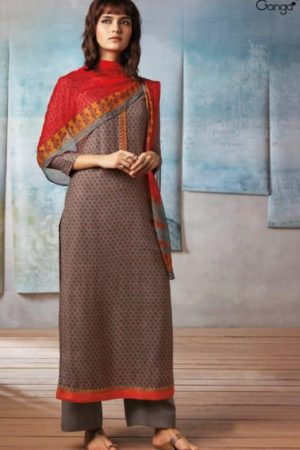 Ganga Presents Isla Wool Dobby Printed With Embroidery Salwar Suit 8238