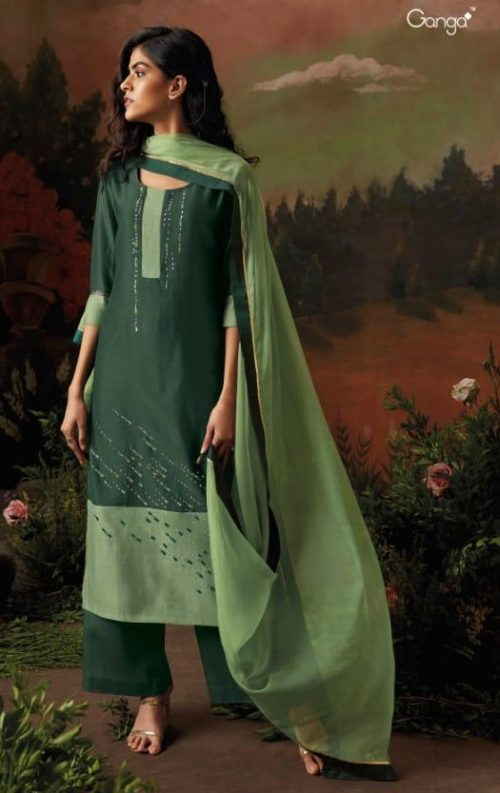 Ganga Presents Nisarga Kora Silk Stitched Pattern With Heavy Embroidery and Handwork Salwar Suit 8319