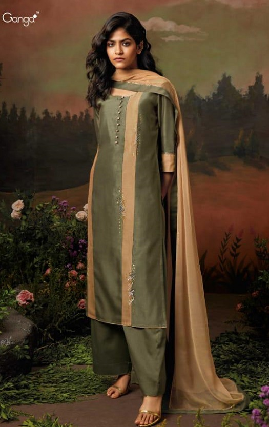 Ganga Presents Nisarga Kora Silk Stitched Pattern With Heavy Embroidery and Handwork Salwar Suit 8322