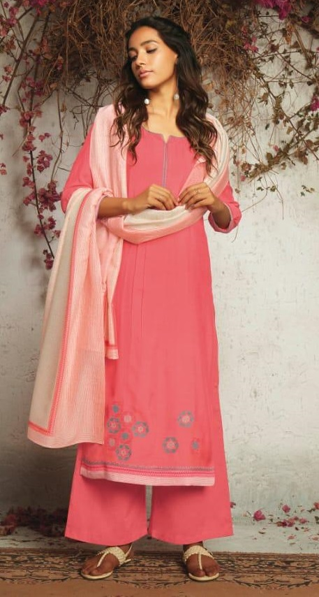 Ganga Presents The Summer Of Love Pure Muslin Silk Solid With Embroidery and Work Salwar Suit 7531