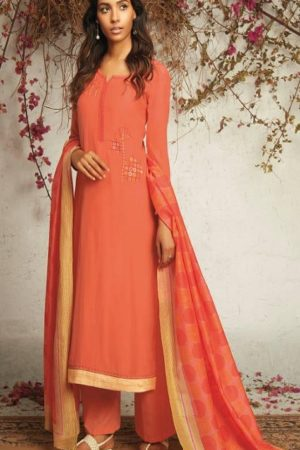 Ganga Presents The Summer Of Love Pure Muslin Silk Solid With Embroidery and Work Salwar Suit 7533